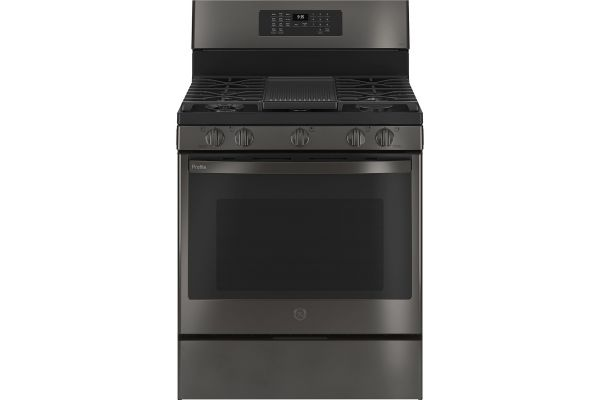 """Large image of GE Profile 30"""" Fingerprint Resistant Black Stainless Convection Gas Range With Air Fry - PGB935BPTS"""