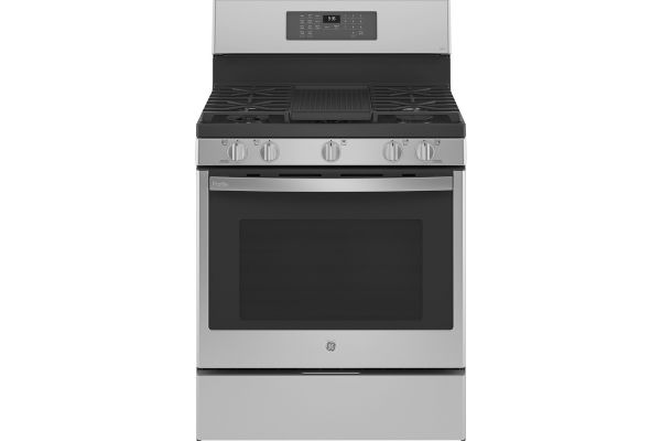 "Large image of GE Profile 30"" Fingerprint Resistant Stainless Steel Convection Gas Range With Air Fry - PGB935YPFS"