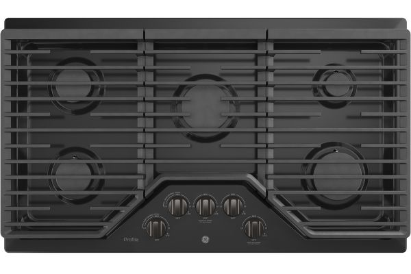 """Large image of GE Profile 36"""" Built-In Black Stainless Steel Gas Cooktop - PGP7036BMTS"""