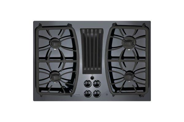 "Large image of GE Profile 30"" Black Built-In Gas Downdraft Cooktop - PGP9830DJBB"