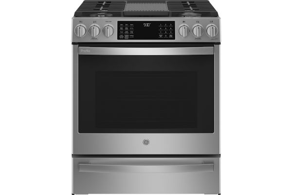 """Large image of GE Profile 30"""" Stainless Steel Slide-In Gas Range   Abt - PGS930YPFS"""