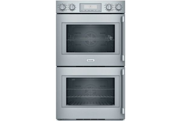 """Large image of Thermador 30"""" Professional Series Stainless Steel Left Hinge Double Built-In Oven - POD302LW"""