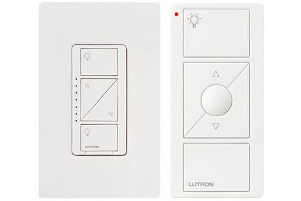 Large image of Lutron Caseta White 600-Watt In-Wall Dimmer With Remote - P-PKG1W-WH