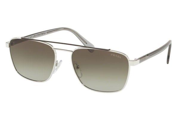 Large image of Prada Rectangular Brown Silver Mens Sunglasses - PR61USY7B502