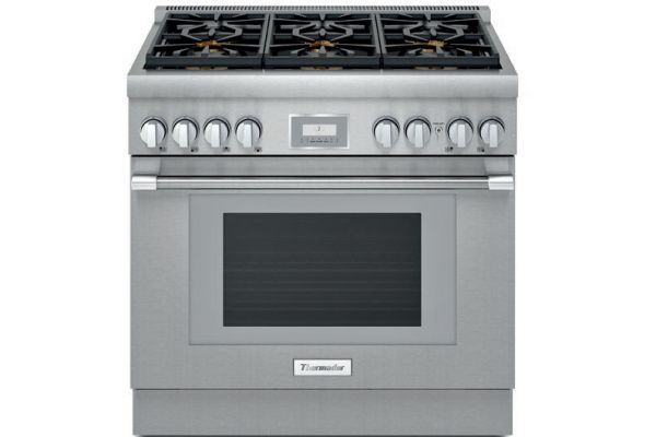 "Large image of Thermador 36"" Pro Harmony Stainless Steel Dual Fuel Range - PRD366WHU"