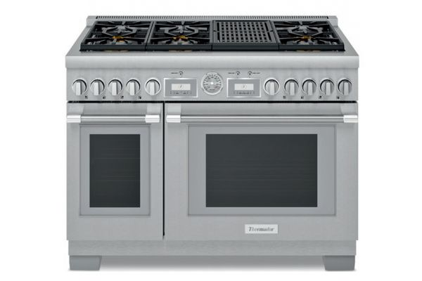 "Large image of Thermador 48"" Pro Grand Commercial Depth Stainless Steel Gas Range - PRG486WLG"