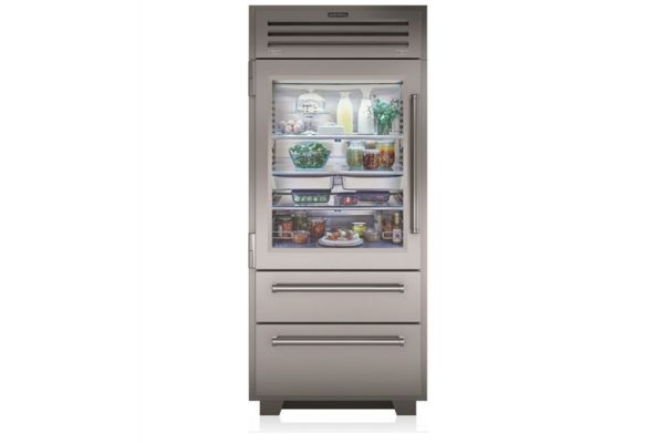 "Large image of Sub-Zero 36"" PRO Stainless Steel Left-Hinge Built-In Bottom Freezer Refrigerator With Glass Door - PRO3650GLH"
