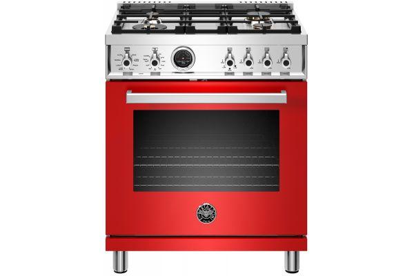 "Large image of Bertazzoni Professional Series 30"" Red Freestanding Dual Fuel Range - PROF304DFSROT"