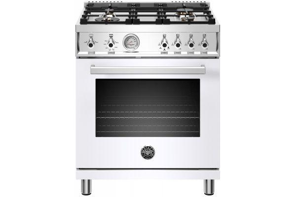 """Large image of Bertazzoni Professional Series 30"""" White Freestanding Gas Range - PROF304GASBIT"""