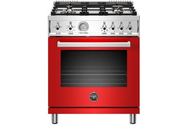 """Large image of Bertazzoni Professional Series 30"""" Red Freestanding Gas Range - PROF304GASROT"""
