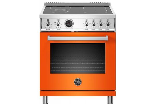 "Large image of Bertazzoni Professional Series 30"" Orange Self-Clean Induction Range - PROF304INSART"