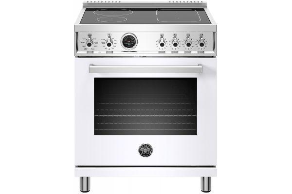 "Large image of Bertazzoni Professional Series 30"" White Self-Clean Induction Range - PROF304INSBIT"