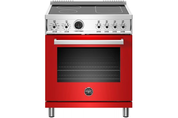 """Large image of Bertazzoni Professional Series 30"""" Red Self-Clean Induction Range - PROF304INSROT"""