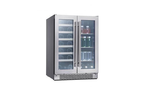 Large image of Zephyr Presrv 5.2 Cu. Ft. Stainless Frame Dual Zone French Door Wine & Beverage Cooler - PRWB24C32BG
