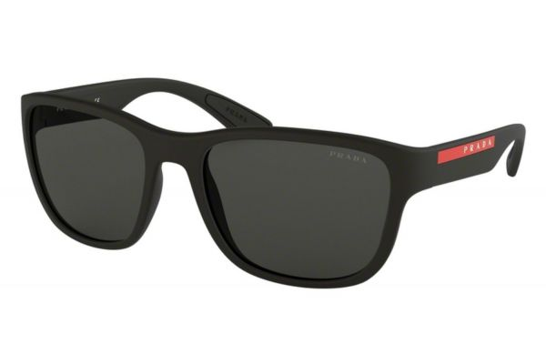 Large image of Prada Rectangular Black Rubber Mens Sunglasses - PS01USDG05S0