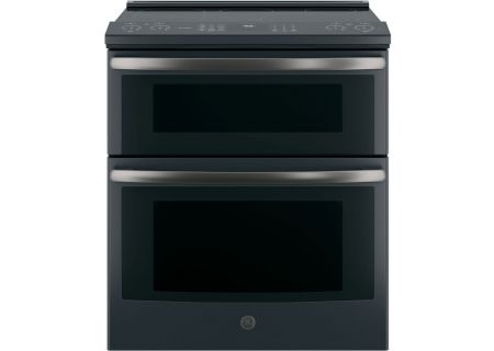 """GE Profile 30"""" Black Slate Slide-In Electric Double Oven Convection Range - PS960FLDS"""