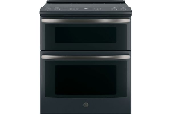 "GE Profile 30"" Black Slate Slide-In Electric Double Oven Convection Range - PS960FLDS"