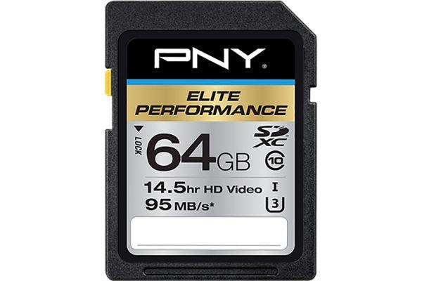 PNY Elite Performance 64GB SDXC Class 10 Memory Card - P-SDX64U395-GE