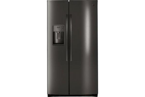 Large image of GE Profile Black Stainless Steel Side By Side Refrigerator - PSE25KBLTS