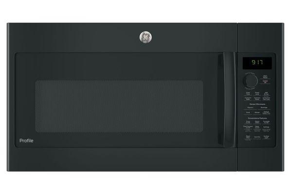 Large image of GE Profile Black Over-The-Range Convection Microwave Oven - PVM9179DKBB