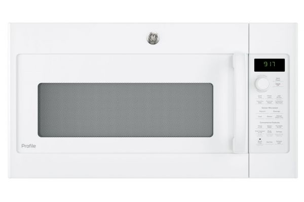 Large image of GE Profile White Over-The-Range Convection Microwave Oven - PVM9179DKWW