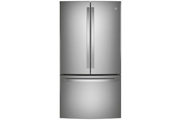 Large image of GE Profile ENERGY STAR 23.1 Cu. Ft. Fingerprint Resistant Stainless Steel Counter-Depth French-Door Refrigerator - PWE23KYNFS