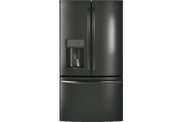 Large image of GE Profile 22.1 Cu. Ft. Black Stainless Counter-Depth French-Door Refrigerator With Door In Door And Hands-Free AutoFill - PYD22KBLTS