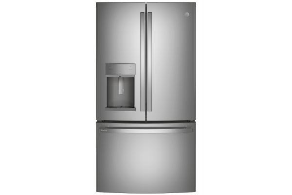 Large image of GE Profile 22.1 Cu. Ft. Fingerprint Resistant Stainless Steel Counter-Depth French-Door Refrigerator With Door In Door And Hands-Free AutoFill - PYD22KYNFS