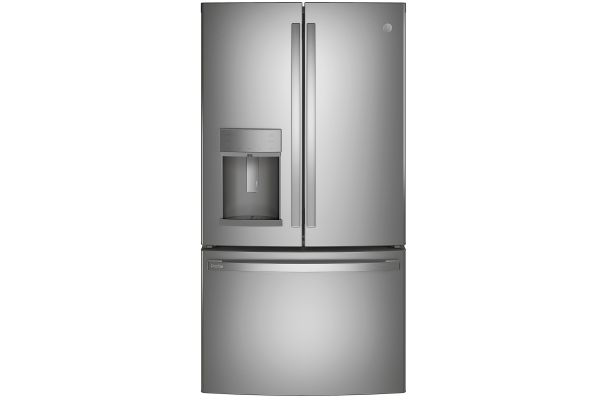 Large image of GE Profile ENERGY STAR 22.1 Cu. Ft. Fingerprint Resistant Stainless Steel Counter-Depth French-Door Refrigerator With Hands-Free AutoFill - PYE22KYNFS