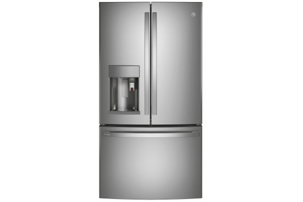 Large image of GE Profile ENERGY STAR 22.1 Cu. Ft. Fingerprint Resistant Stainless Steel Smart Counter-Depth French-Door Refrigerator With Keurig K-Cup Brewing System - PYE22PYNFS