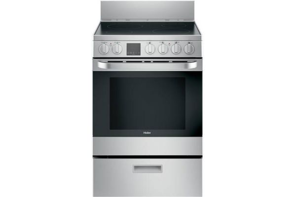 "Large image of Haier 24"" Stainless Steel Freestanding Electric Range - QAS740RMSS"