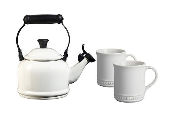 Large image of Le Creuset White Demi Kettle & Mugs Set - QS9403-16