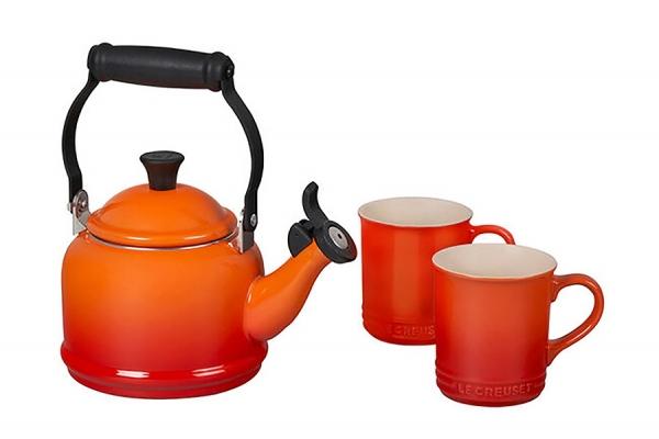 Large image of Le Creuset Flame Demi Kettle & Mugs Set - QS9403-2