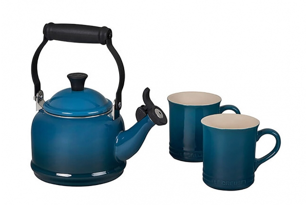 Large image of Le Creuset Deep Teal Demi Kettle & Mugs Set - QS9403-7D