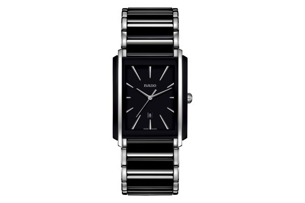 Large image of Rado Integral Quartz Black And Stainless Steel Mens Watch - R20206162
