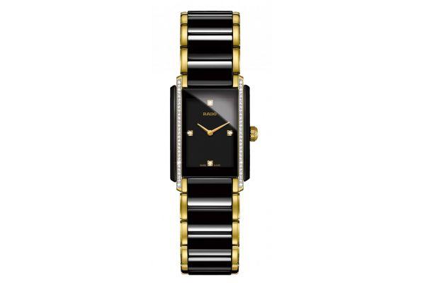 Large image of Rado Integral S Quartz Black And Gold Womens Watch - R20221712