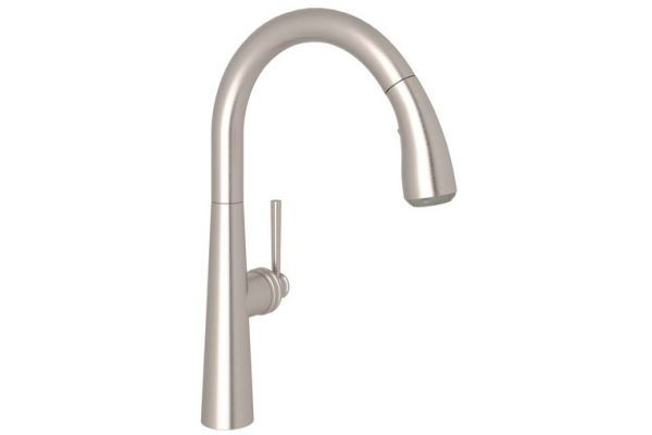 Large image of Rohl Satin Nickel Lux Pull-Down Kitchen Faucet - R7515LMSTN-2