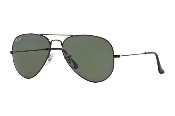 Large image of Ray-Ban Aviator Large Polarized Black Metal Unisex Sunglasses - RB3025 002/58 58-14