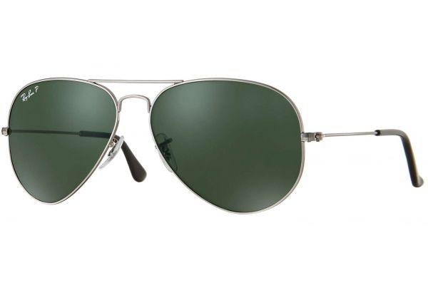 Ray-Ban Polarized Classic Aviator Large Gunmetal Unisex Sunglasses - RB3025 004/58 58-14