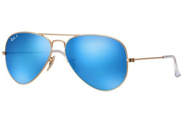 Large image of Ray-Ban Aviator Polarized Blue Flash Unisex Sunglasses - RB3025 112/4L 58-14