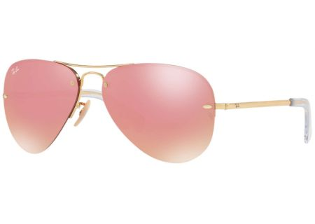 Ray-Ban Pink Flash Womens Aviator Sunglasses - RB3449 001/E4 59-14