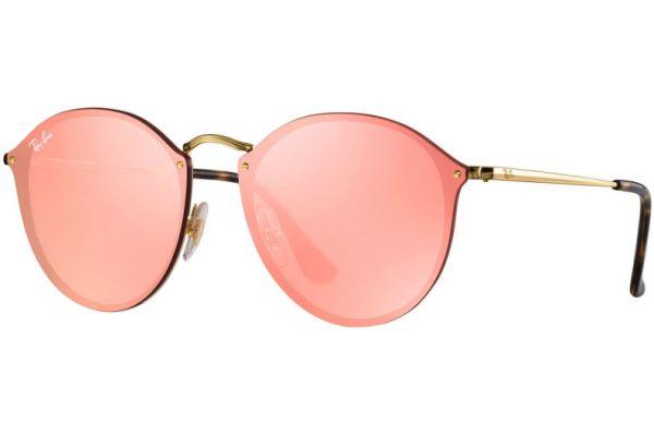 Ray-Ban Blaze Round Pink Mirror Womens Sunglasses - RB3574N 001/E4 59