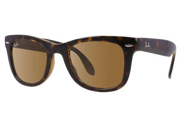 Large image of Ray-Ban Folding Wayfarer Tortoise Unisex Sunglasses - RB410571050