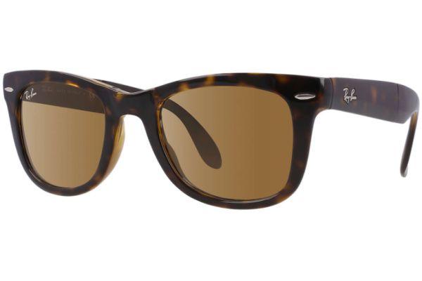 Large image of Ray-Ban Folding Wayfarer Tortoise Brown Unisex Sunglasses - RB41057105150