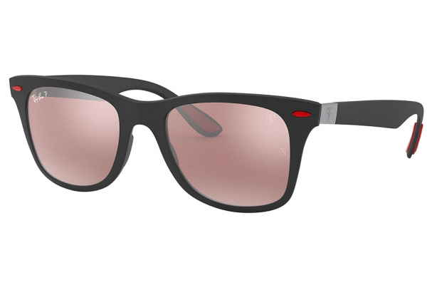 Large image of Ray-Ban Wayfarer Square Scuderia Ferrari Collection Black Polarized Mens Sunglasses - RB4195MF602H252