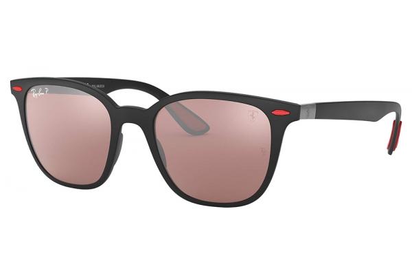 Large image of Ray-Ban Square Scuderia Ferrari Collection Black Polarized Mens Sunglasses - RB4297MF602H251