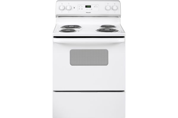 """Large image of GE Hotpoint 30"""" White Freestanding Standard Clean Electric Range - RBS360DMWW"""