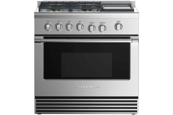 "Large image of Fisher & Paykel 36"" Professional Style Stainless Steel Dual Fuel Range With Griddle - RDV2364GDNN"