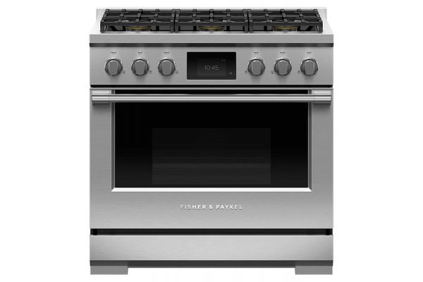 """Large image of Fisher & Paykel 36"""" Series 9 Professional Stainless Steel Dual Fuel Range, 6 Burners, Self-Cleaning, LPG - RDV3-366-L"""