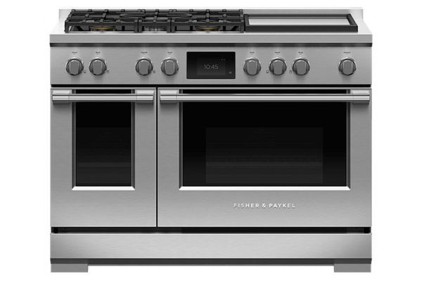 """Large image of Fisher & Paykel 48"""" Stainless Steel Dual Fuel Range With 5 Burners And Griddle - RDV3-485GD-N"""